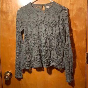 Green lace long sleeve shirt